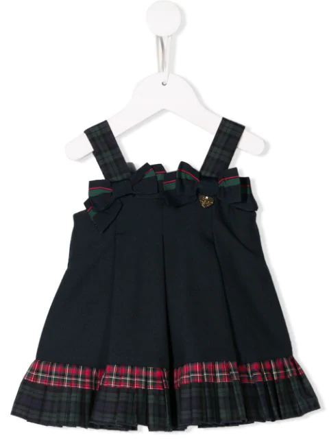 Lapin House Babies' Checked Panel Dress In Blue