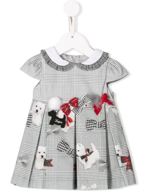 Lapin House Babies' Bow Embellished Checked Dress In Grey