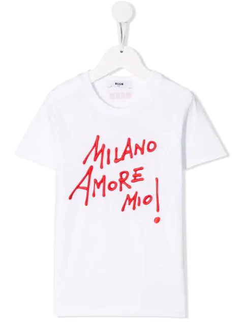 Msgm Kids' 'milano' Embroidered T-shirt In White