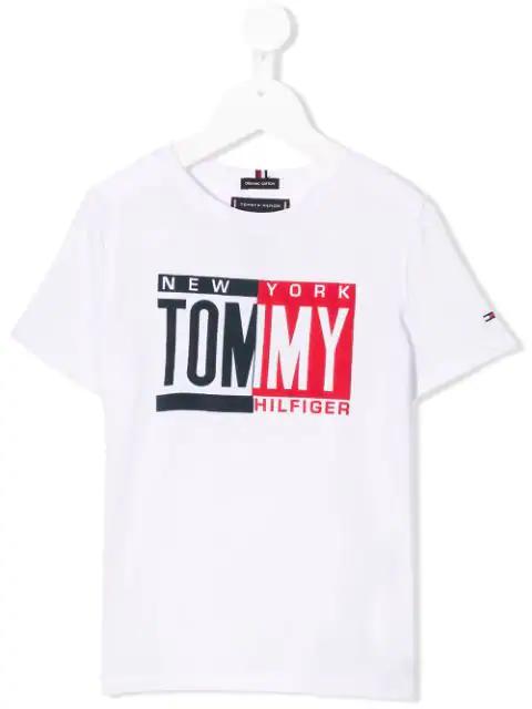 Tommy Hilfiger Junior Kids' Contrast Logo T-shirt In White