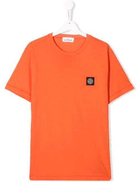 Stone Island Junior Teen Logo Patch T-shirt In Orange
