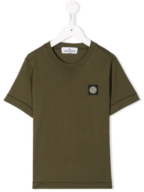 Stone Island Junior Kids' Logo Patch T-shirt In Green
