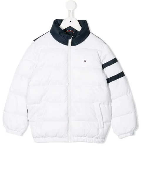 Tommy Hilfiger Junior Kids' Colour Block Padded Jacket In White