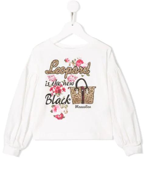 Monnalisa Kids' Leopard Is The New Black Sweatshirt In White