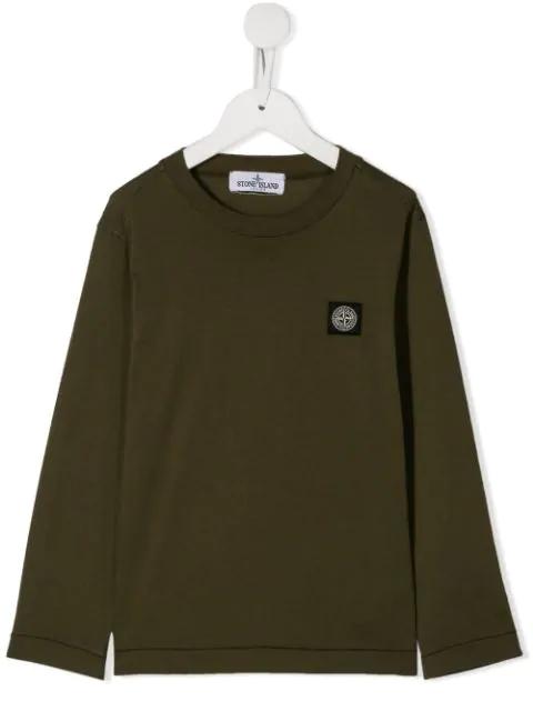 Stone Island Junior Kids' Logo Patch Sweatshirt In Green