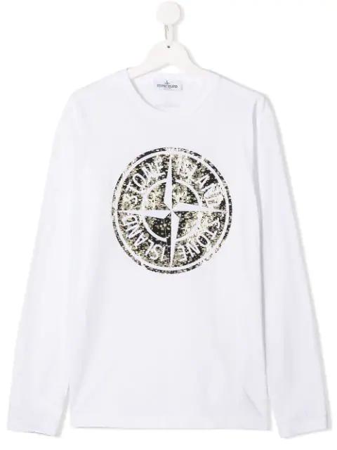 Stone Island Junior Kids' Contrast Logo Sweatshirt In White