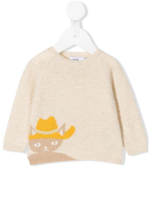 Knot Babies' Abigale The Cat Sweater In Neutrals