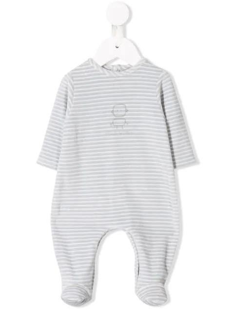 Knot Babies' Striped Long-sleeve Bodysuit In Grey