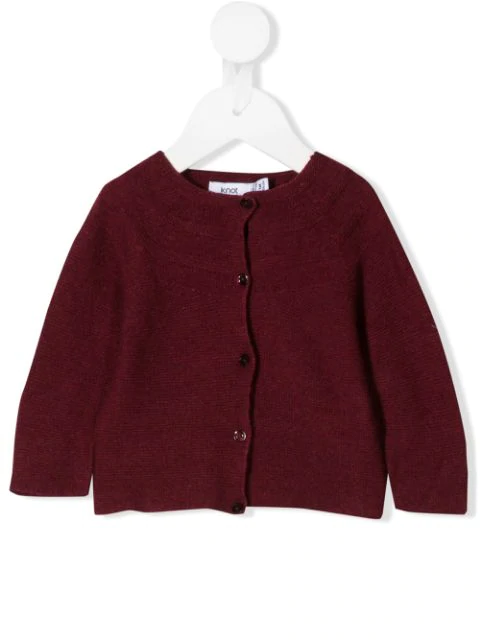 Knot Babies' Long-sleeve Fitted Cardigan In Red