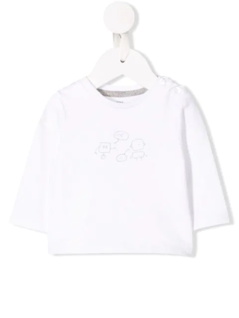 Knot Babies' Robot Print Top In White