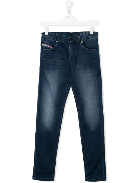 Diesel Teen Faded Wash Jeans In Blue