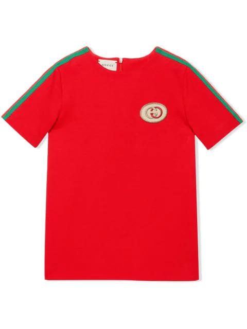 Gucci Kids' Gg Web Trim T-shirt In Red