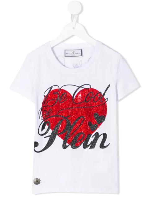 Philipp Plein Junior Kids' Love Round Neck T-shirt In White