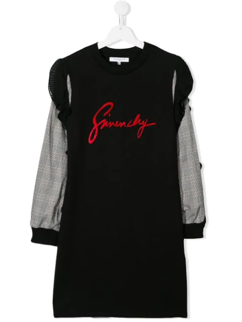 Givenchy Kids' Contrast-sleeve Logo Sweater Dress In Black