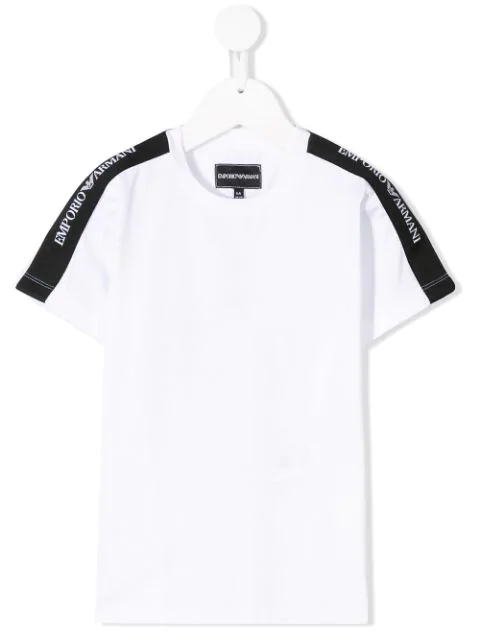 Emporio Armani Kids' Logo Stripe T-Shirt In 0100 White