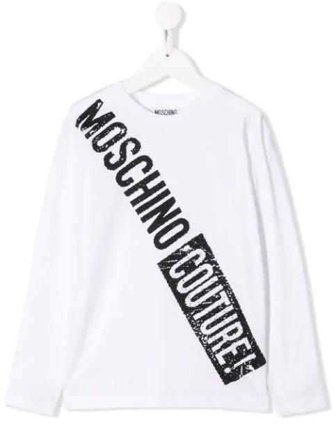 Moschino Kids' Logo Print Long-sleeved T-shirt In White