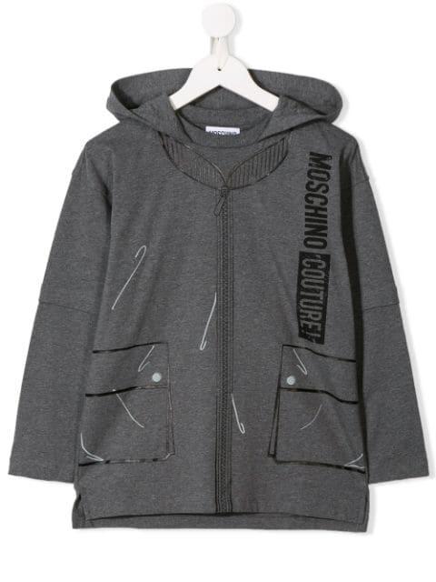 Moschino Kids' Logo Print Hoodie In Grey