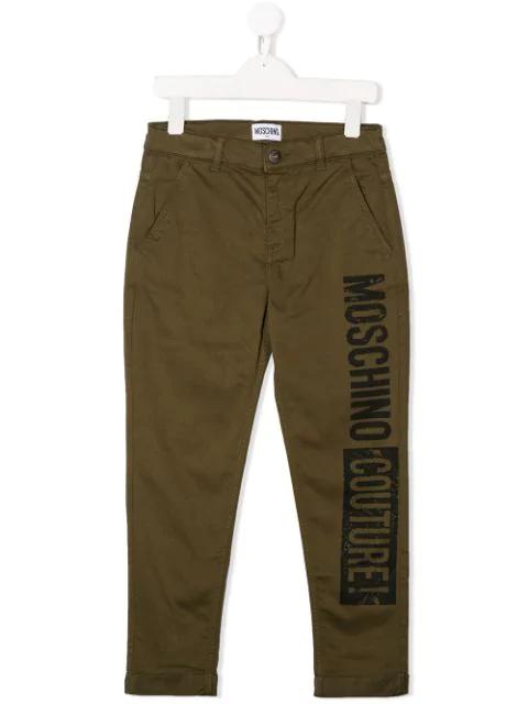 Moschino Kids' Logo Print Trousers In Green