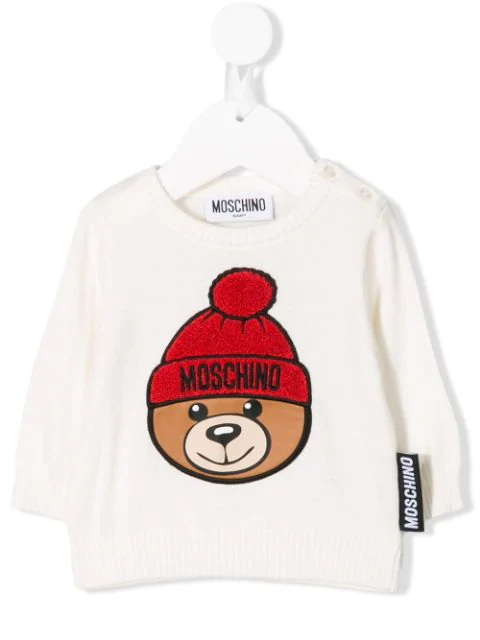 Moschino Babies' Embroidered Bear Sweater In White