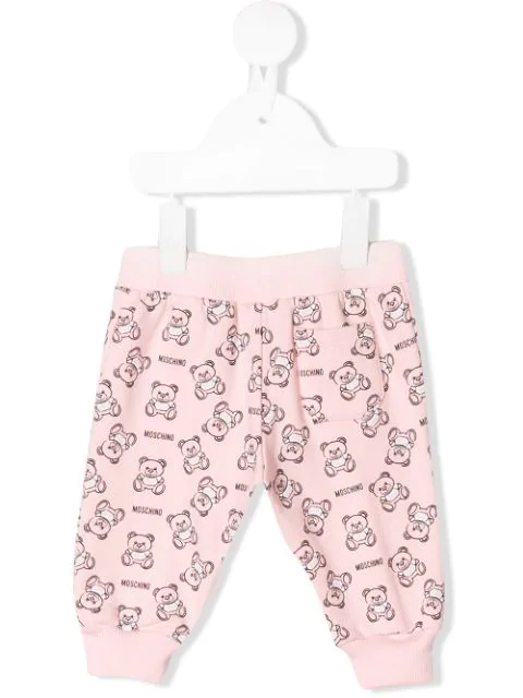 Moschino Babies' Teddy Outline Track Pants In Pink