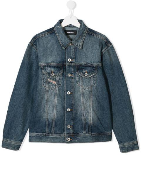 Diesel Kids' Denim Jacket With Logo Patch In Blue