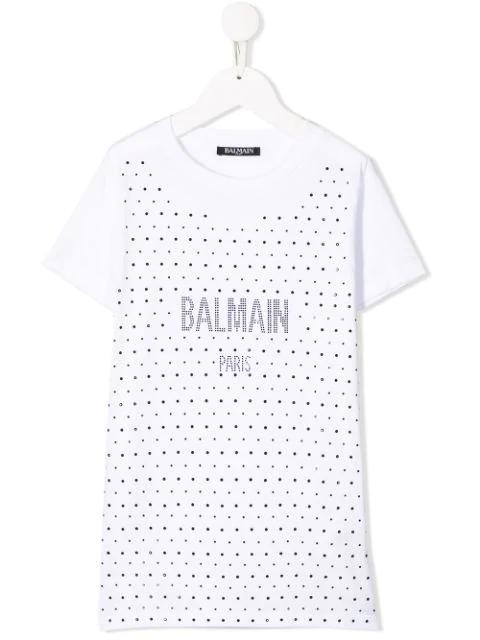 Balmain Teen Studded Logo T-shirt In White