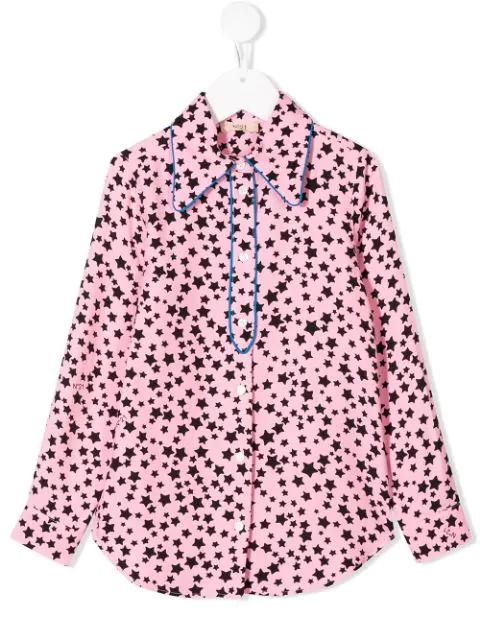 N°21 Kids' Star Print Shirt In Pink