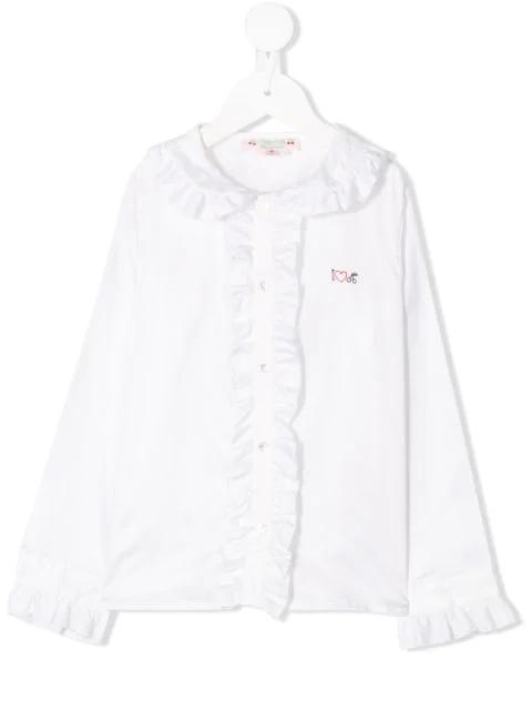Bonpoint Kids' Ruffled Trim Blouse In White