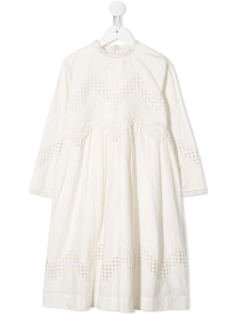 Bonpoint Kids' White Embroidered Midi Dress