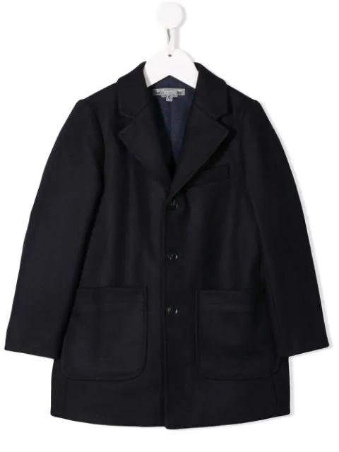 Bonpoint Kids' Einreihiger Mantel In Blue