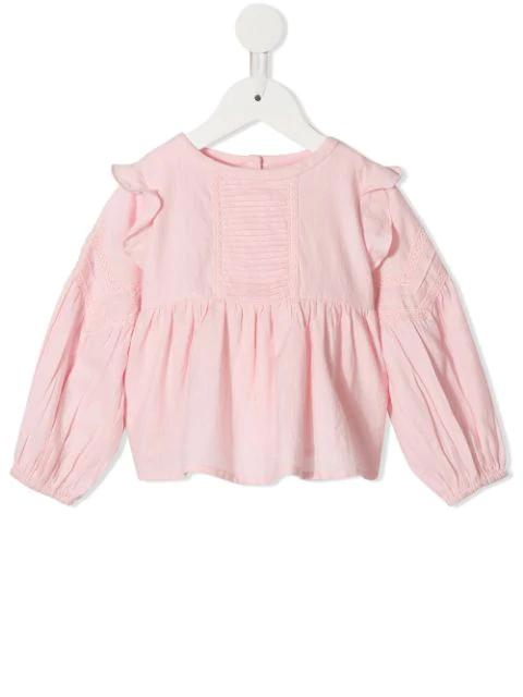 Velveteen Babies' Marie Frill Shoulder Blouse In Pink