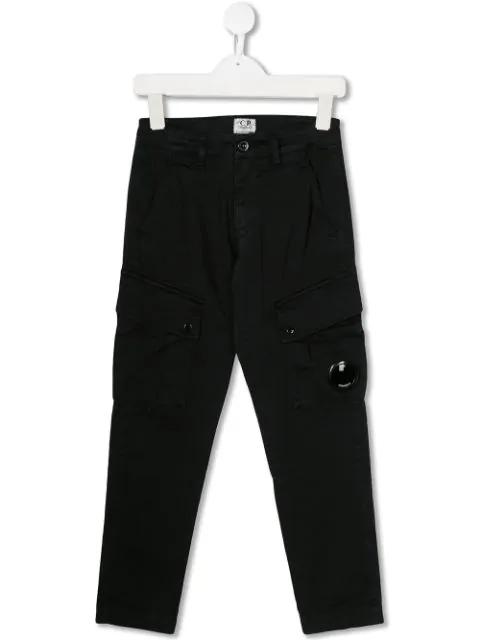 C.p. Company Kids' Goggle Insert Cargo Trousers In Black