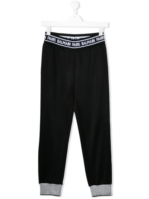 Balmain Teen Logo Lined Sweatpants In Black