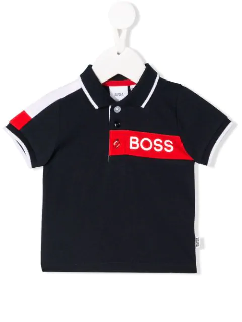 Hugo Boss Babies' Logo Print Polo Shirt In Blue
