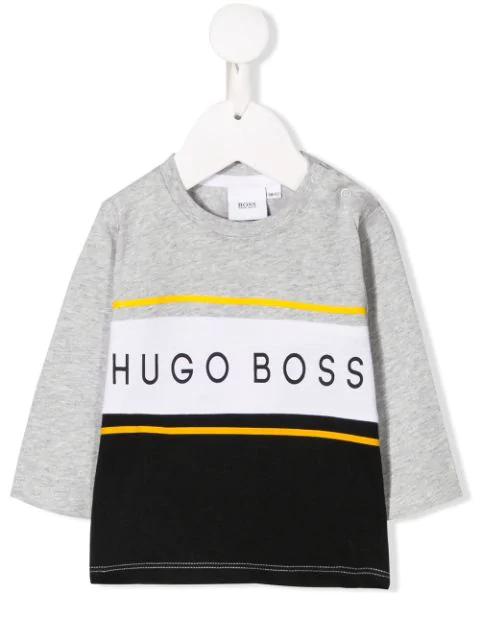 Hugo Boss Babies' Logo Print Sweatshirt In Grey