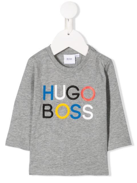 Hugo Boss Babies' Logo Print T-shirt In Grey