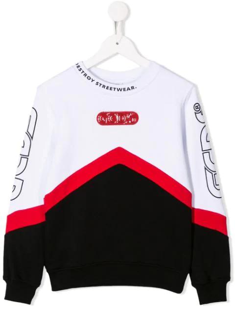 Gcds Kids' Colour Block Sweatshirt In White