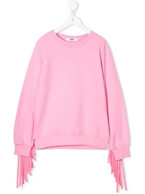 Msgm Kids' Fringe Detail Sweatshirt In Pink