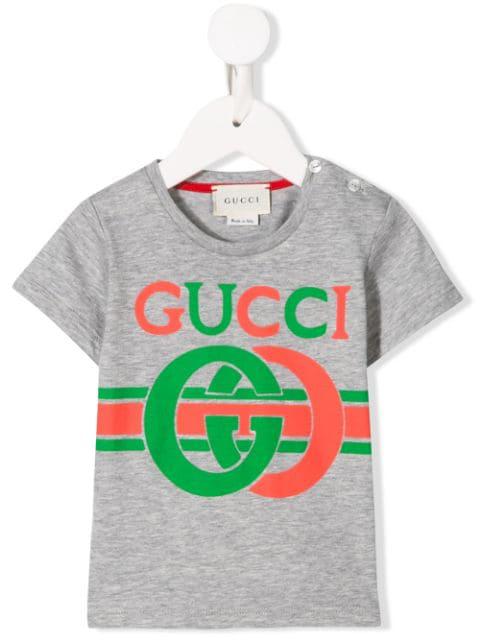 Gucci Babies' Gg Logo Print T-shirt In Grey
