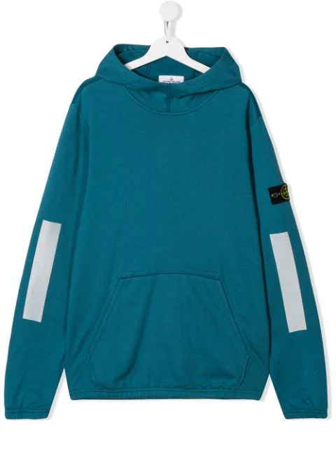 Stone Island Junior Kids' Logo Patch Hoodie In Blue