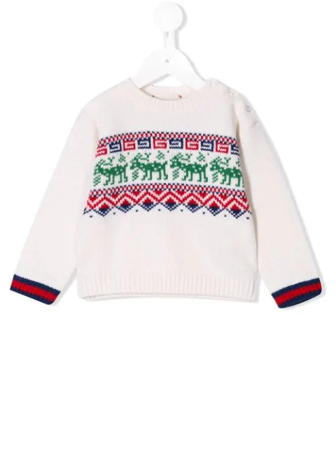 Gucci Babies' Pullover Mit Fair-isle-muster In Neutrals