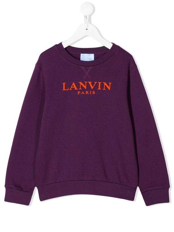 Lanvin Enfant Teen Logo Print Sweatshirt In Purple