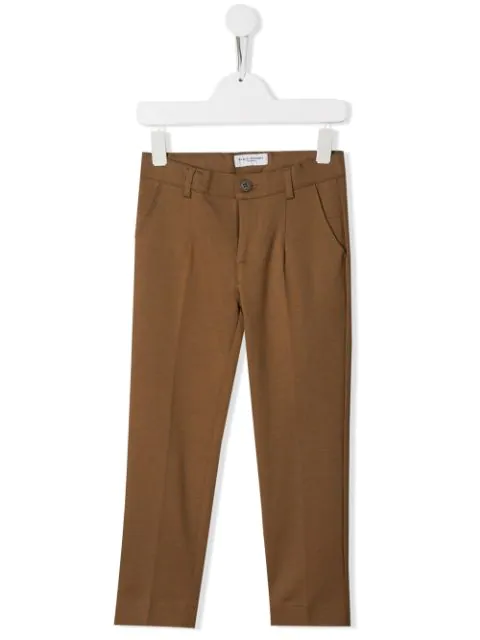Paolo Pecora Kids' Creased Straight Leg Trousers In Brown