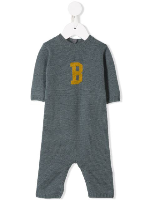 Bonpoint Babies' Knitted Romper In Grey