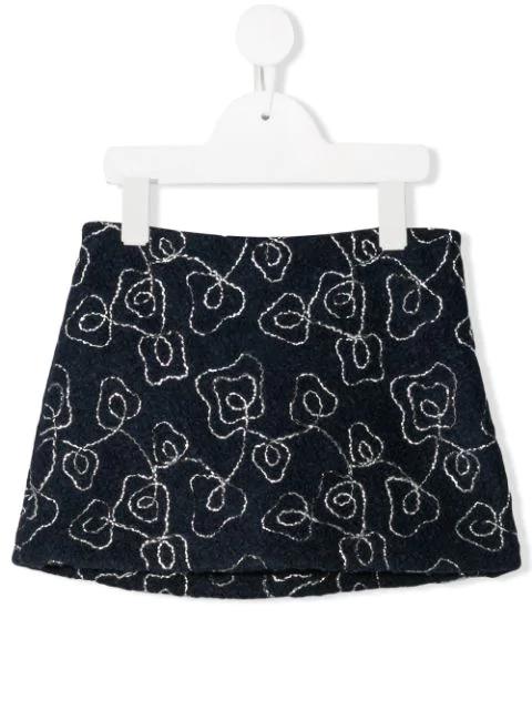 Il Gufo Teen Textured Mini Skirt In Blue