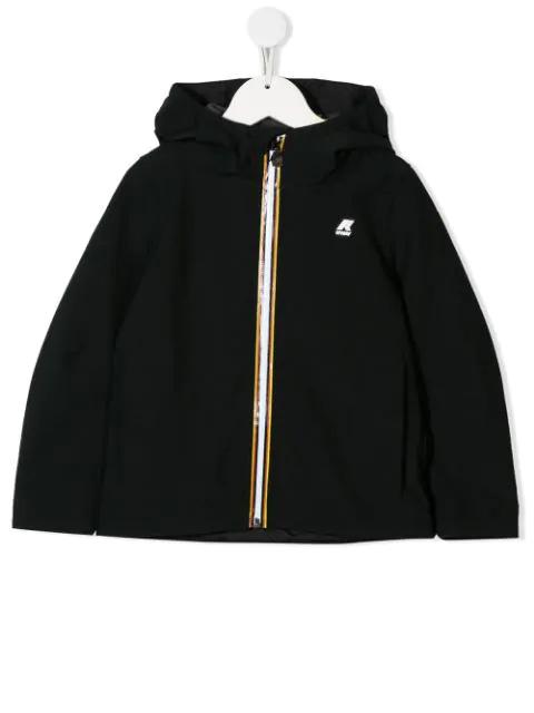 K-way Kids' Zipped Hooded Jacket In Black