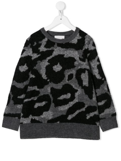 Stella Mccartney Kids' Camouflage Intarsia Sweater In Grey