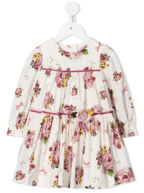 Monnalisa Babies' Gathered Floral Dress In White