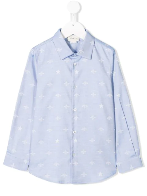 Gucci Kids' Star And Bee Print Shirt In Blue