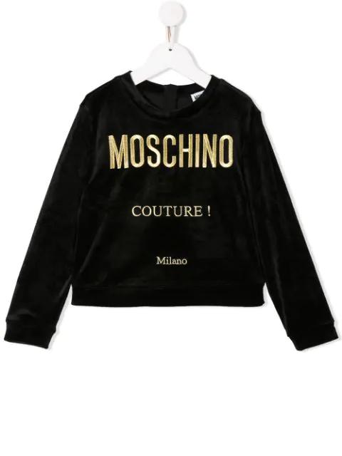 Moschino Teen Embroidered Logo Sweatshirt In Black